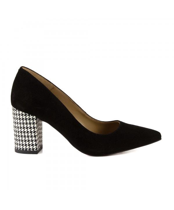 Pantofi eleganti negri camoscio 1714
