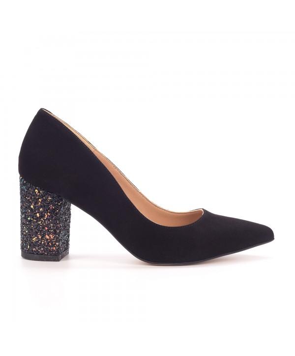 Pantofi eleganti negri camoscio 1714-G