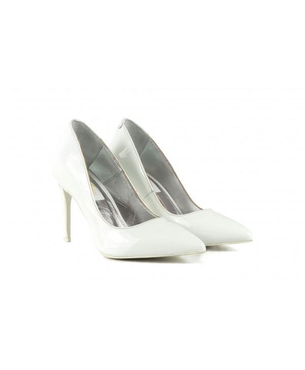 Pantofi eleganti albi 1716