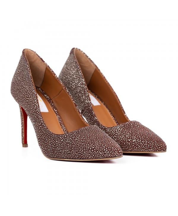Pantofi eleganti maro buburuzat 1716