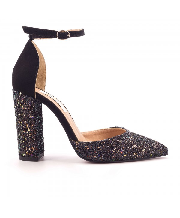 Pantofi eleganti decupati negri gliter 1724