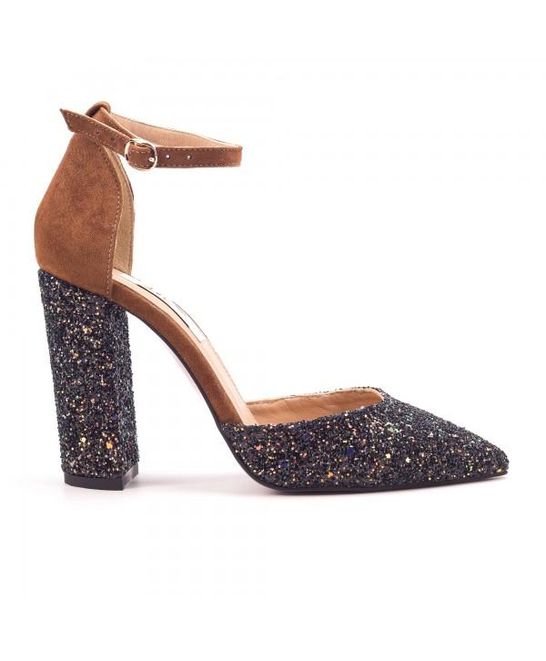 Pantofi eleganti decupati maro gliter 1724
