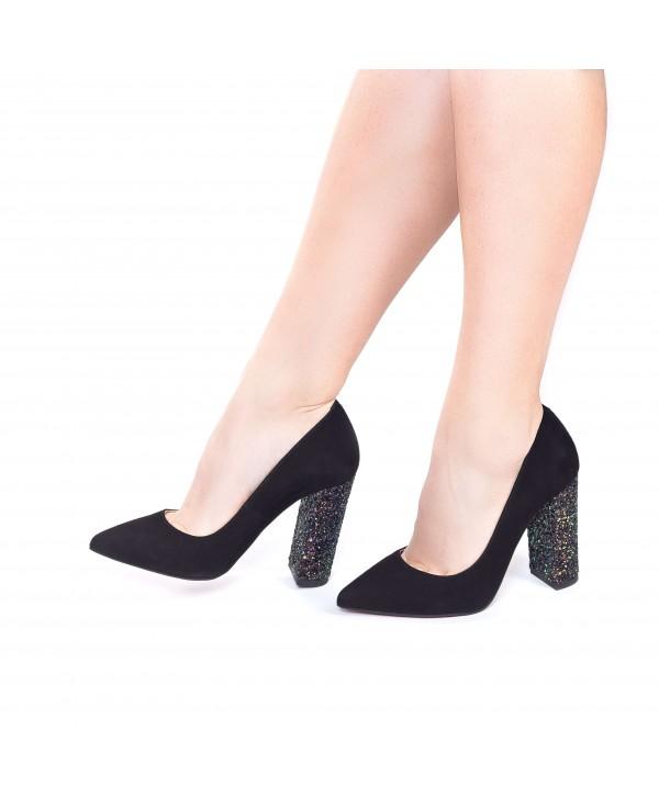 Pantofi eleganti stiletto negri camoscio 1719-G