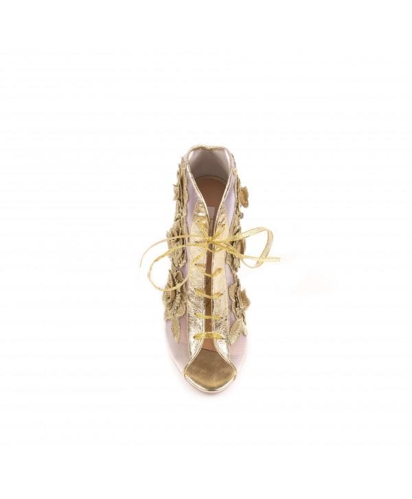 Evelina - Pantofi eleganti aurii flori 1803