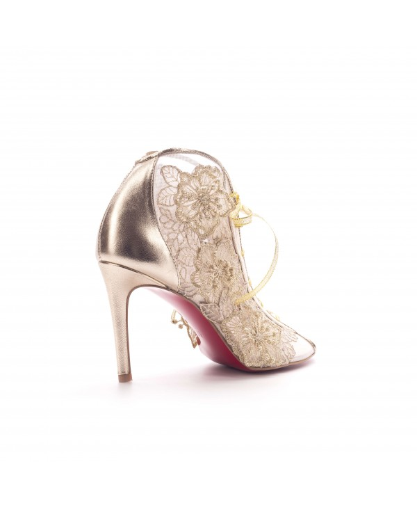 Pantofi eleganti aurii clasic 1803