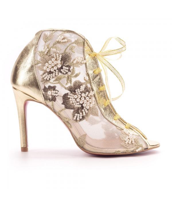 Evelina - Pantofi eleganti aurii margele 1803