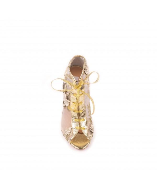Pantofi eleganti aurii margele 1803
