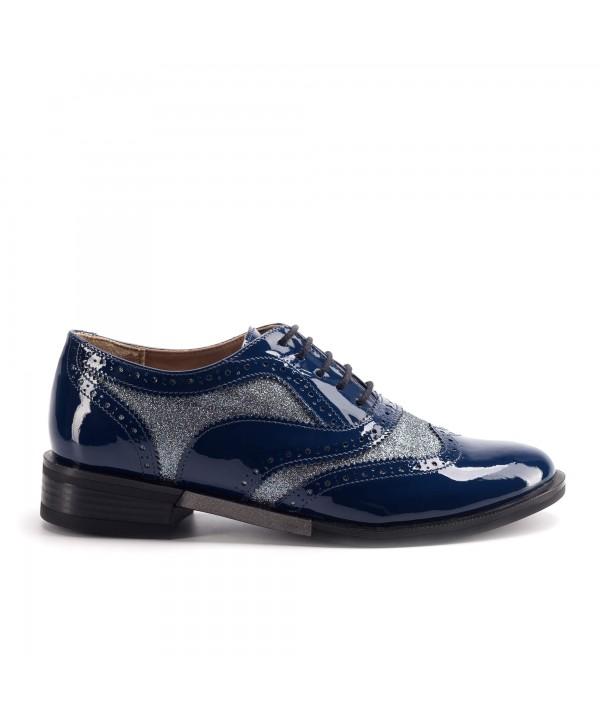 Pantofi oxford albastri  luciosi 1810