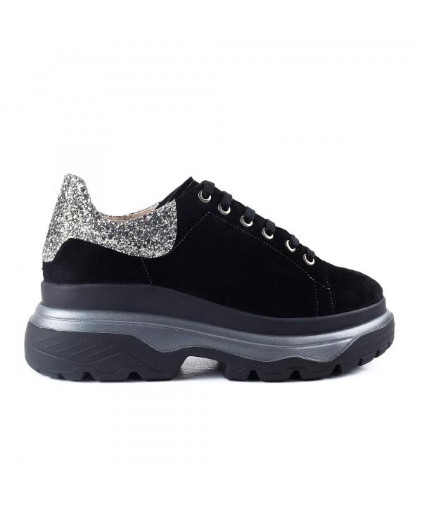 Sneakers negri camoscio glitter 1917
