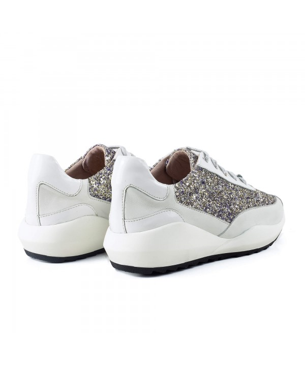 Sneakers eleganti glitter alb 1918