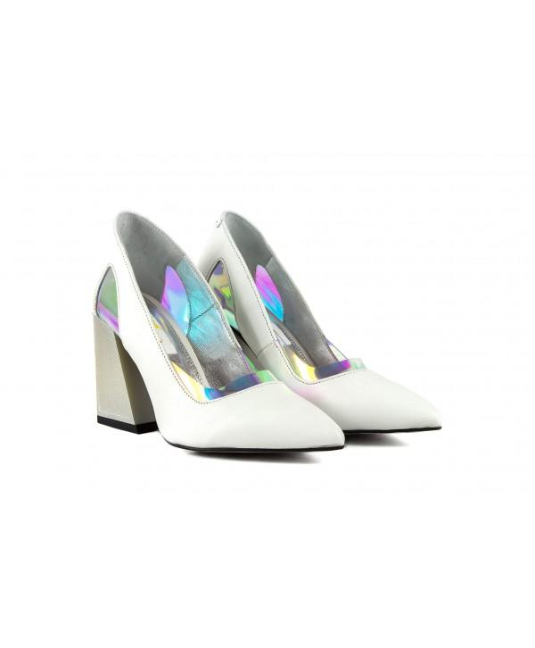 Pantofi eleganti albi 1950