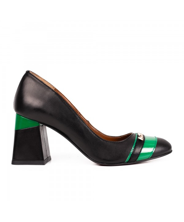 Pantofi comozi negri + verde 2002