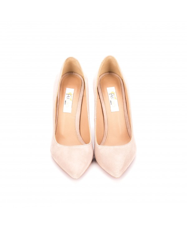 Pantofi eleganti stiletto nude camoscio 1719-G