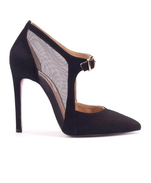 Pantofi eleganti stiletto negri 1728