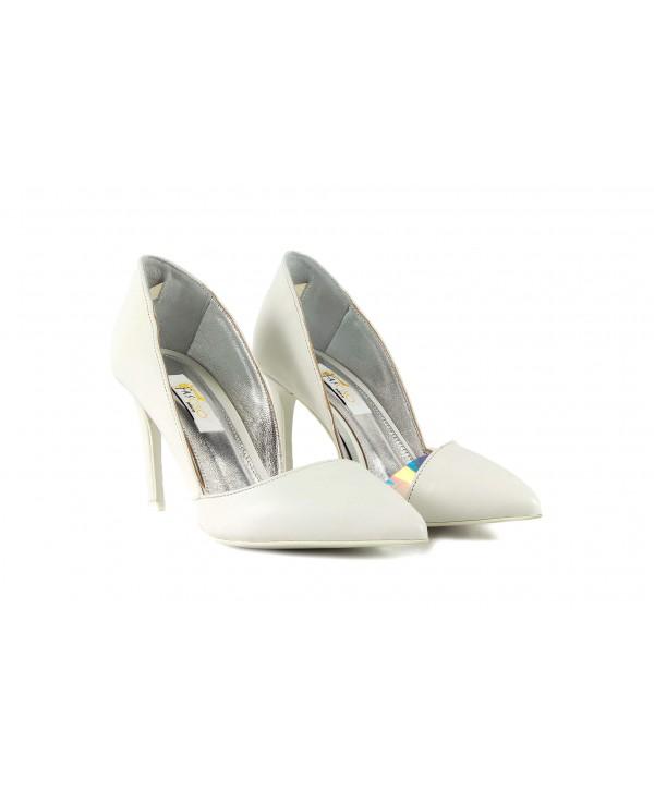 Pantofi eleganti albi 1718-S
