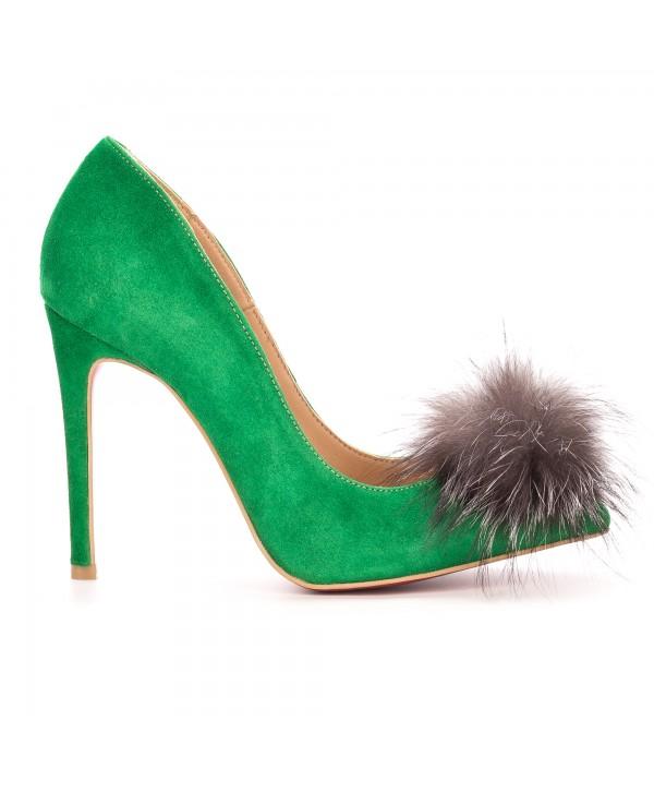 Pantofi eleganti stiletto verzi 1717-P
