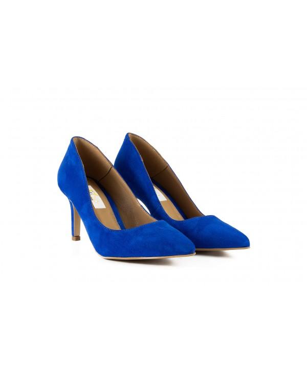 Pantofi eleganti albastri camoscio 1721