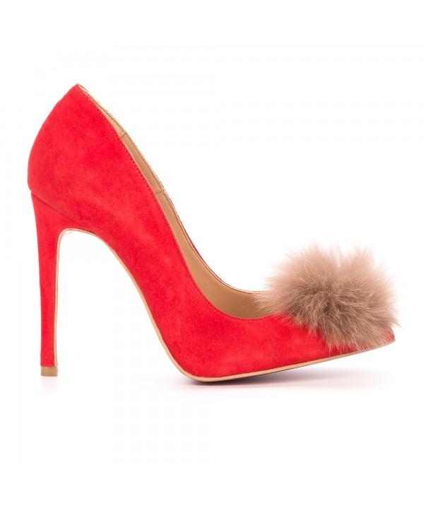 Pantofi eleganti stiletto rosii 1717-P