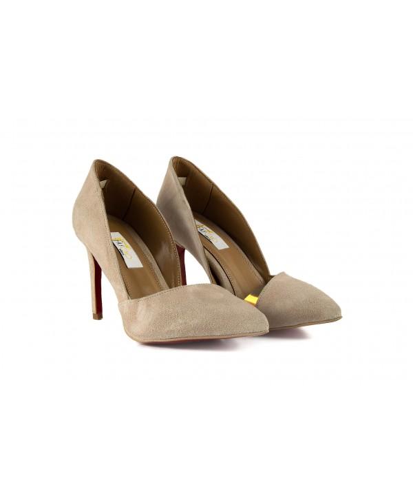 Pantofi eleganti maro camoscio 1718-S