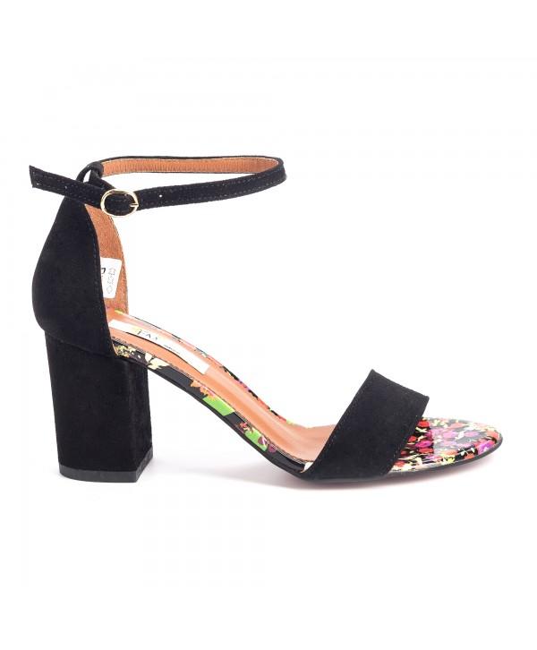 Sandale comode negre camoscio 1614b