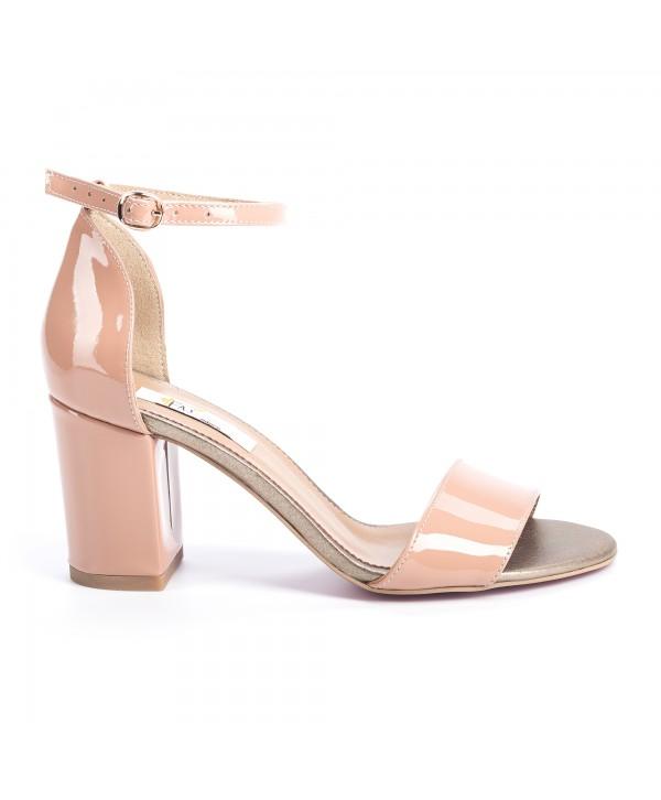 Sandale comode crem lucios 1614b