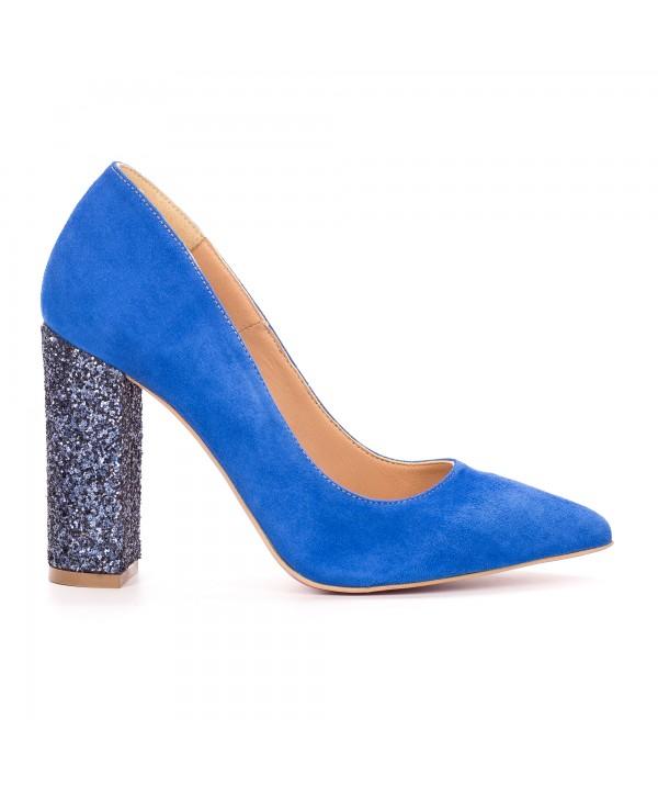 Pantofi eleganti stiletto albastri camoscio 1719-G