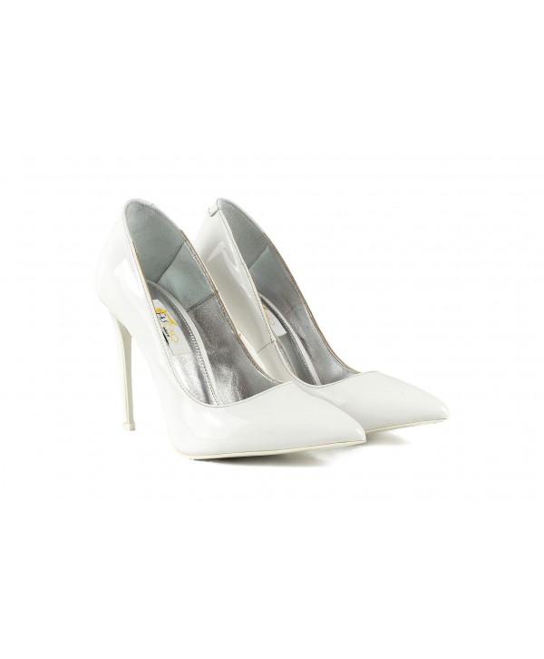 Pantofi eleganti stiletto albi 1717