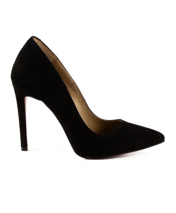 Pantofi eleganti stiletto negri camoscio 1717